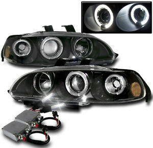 For 1992 1995 Honda Civic 2 3dr Black Set Halo Projector Headlight 50w 6000k Hid