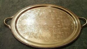 Poole Silver Co 19 Silver Plate Butler Serving Tray W Handles Epc 16 1201
