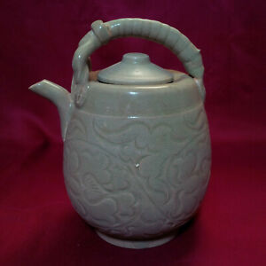 Chinese Antique Song Yaozhou Carved Flower Mounted Ewer W Cover