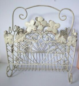 Shabby Chic Or Farmhouse Ivory Old Metal Magazine Or Towels Holder