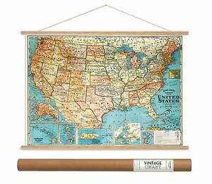 Usa Map Hanging School Poster Vintage Chart Free Shipping