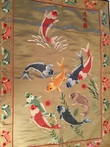 Chinese Koi Fish Silk Wall Hanging Tapestry Panel 26x37 Signed