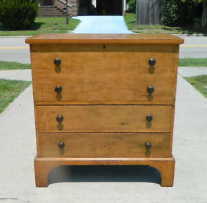 19th Century Blanket Chest Mule Chest W 2 Drawers