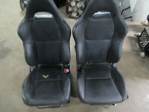 02 06 Acura Rsx Type S Front Bucket And Rear Black Leather Manual Seats Oem