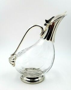 Duck Shaped Glass Silver Plate Wine Water Decanter Pitcher Vintage