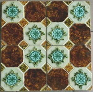 England Antique Victorian Majolica 4 Tile Set C1900