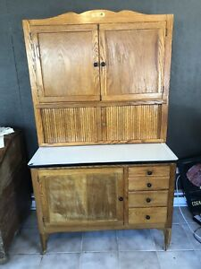 Antique Hoosier Cabinet With Tambour Doors And Flour Sifter Bin Nice
