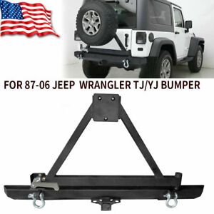 Rear Bumper With Tire Carrier Lock Hitch Receiver For Jeep Wrangler Tj Yj