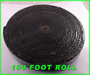 Black Exhaust Heat Header Pipe Wrap Roll 1 8 x2 x 100 Ft Insulating Shield Tape