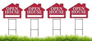 Large 18 x24 Open House Red House Shaped Sign Kit With Stands 4 Pack