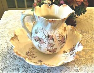 Rare Antique 1800 S B M China Large Pitcher And Bowl Porcelain