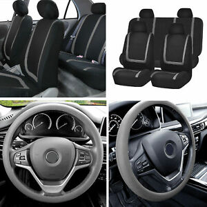 Flat Cloth Car Seat Covers Full Set Gray W silicone Steering Wheel Cover Auto