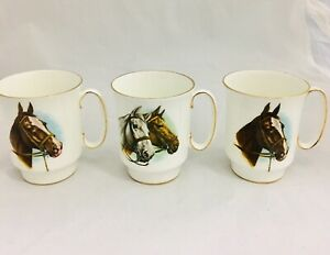 Vtg Royal Windsor Fine Bone China Horse Coffee Tea Cups Set Of 3 Gold Trimmed