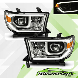 For Toyota 07 13 Tundra 08 17 Sequoia Chrome Led Tube Projector Headlights Pair