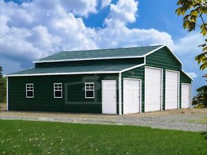 Metal Barn Steel Building Shop 4 Car Garage Barn With Lean tos 44x31 Free Set up