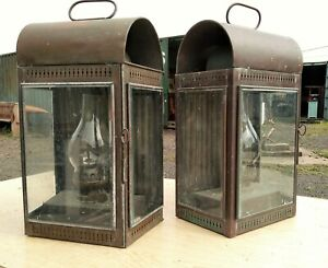 Pair Of Large Antique Copper Wall Lanterns Ex Oil Lamps In Original Condition
