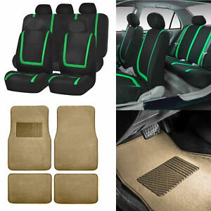 Black Green Car Seat Covers With Beige Carpet Floor Mats For Auto Car Suv