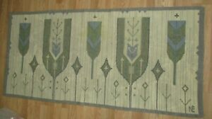 Vintage Old Hand Wooven Wool Small Wool Rug 64 Inches By 30 Inches