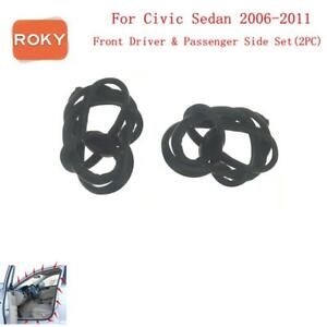 Front 2 Pc Rubber Seal Weatherstrip On Body Frame Car For Civic Sedan 2006 2011