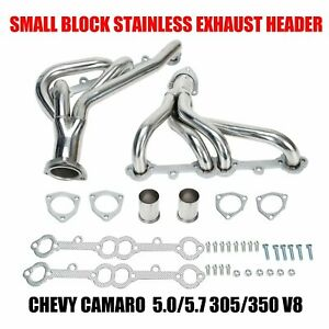 For Chevy 305 350 Cid Small Block Shorty V8 8cyl Stainless Steel Exhaust Header