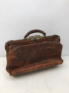Rare 1900 Vintage Brown Textured Pebbled Leather Medical Doctor Physician S Bag