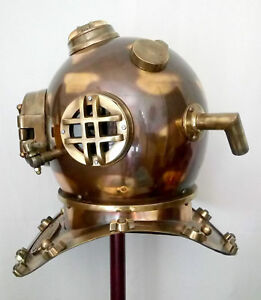 Antique Us Navy Mark V Copper Brass Made 18 Boston Mass Diving Divers Helmet