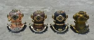 Antique Deep Sea Desk Decor Mini Diving Divers Helmet Us Navy 4 Pcs Set Gift