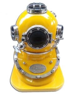 Diving Divers Helmet Us Navy Mark V Deep Sea Divers Helmet Chrome Yellow Finish