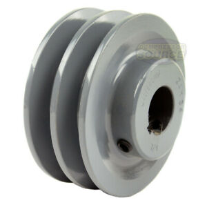 3 5 Cast Iron 7 8 Shaft Pulley Sheave Single 2 Groove V Style A Belt 4l New