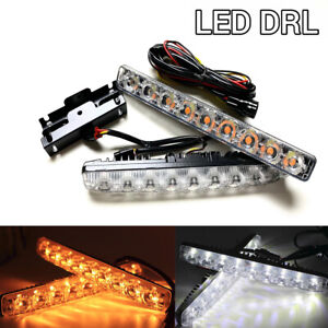Sequential 9 Led Drl Daytime Running Light Flow Turn Signal Switchback W a Toyo