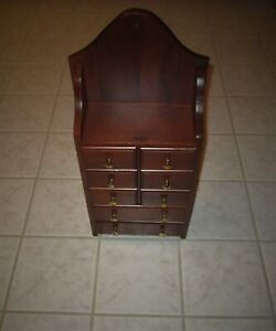 Antique Cherry Wood Hanging Wall Apothecary Spice Cabinet With 8 Drawers