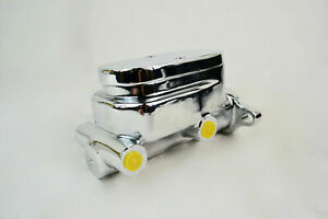 Chrome Aluminum Flat Top 2 Port Brake Master Cylinder Gm Chevy Ford Street Rod