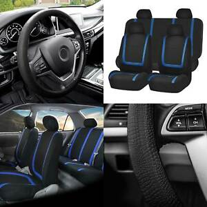 Flat Cloth Car Seat Covers Full Set Blue W black Silicone Steering Wheel Cover