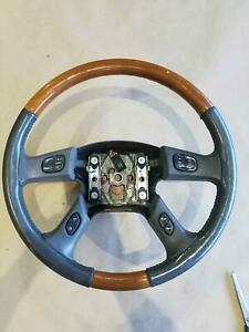 2003 2006 Cadillac Escalade Steering Wheel Gray Woodgrain Oem