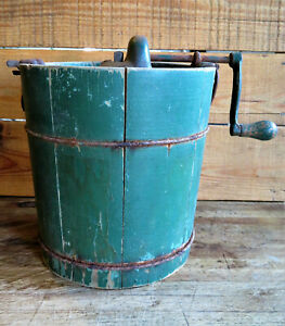 Very Early Antique Vintage Farmhouse Wood Stave Green Ice Cream Maker Bucket