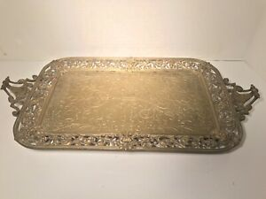 Antique Ornate Dragon Lion Solid Brass Tray Very Heavy