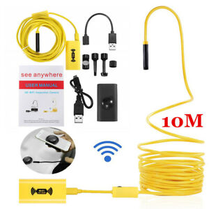 10m 8mm Wifi Endoscope Borescope Inspection Camera Ip68 For Iphone Android Mac
