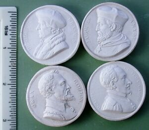 Group Of 4 Antique Late 1800 S Plaster Intaglio Cameo Plaques A6