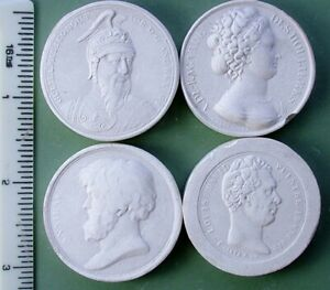 Group Of 4 Antique Late 1800 S Plaster Intaglio Cameo Plaques A7