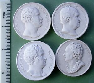 Group Of 4 Antique Late 1800 S Plaster Intaglio Cameo Plaques A8