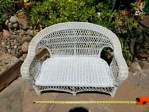 Vtg Antique Child Size Wood Wicker Seat 22 Doll Size Chair