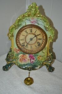 Antique Victorian Ansonia Roses Painting Lions Head Porcelain Mantle Clock
