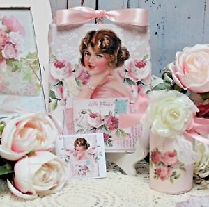 Shabby Chic Vintage Paris Decorative Perfume Bottle Wall Sign Set Of Two