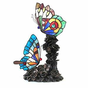 Antique Handcrafted Tiffany Style 2 Light Butterfly Table Lamp Statue Office