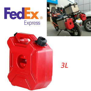 Portable 3l Plastic Motocycle Spare Petrol Fuel Oil Gas Cans Tank Us Shipping
