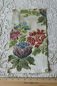 Antique 18thc French Or Italian Floral Silk Brocaded Fabric Piece L 12 X W 7