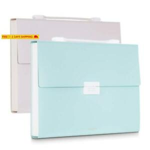 2 Packs Expanding File Folder 13 Pockets Accordion Folder With Handle A4 Size