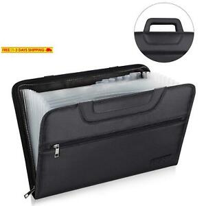 Engpow Expanding File Folder With Portable handle Document Organizer Briefcase B
