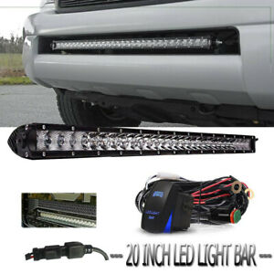 20inch Led Work Light Bar Single Row Combo Kit And Wiring Switch For Offroad
