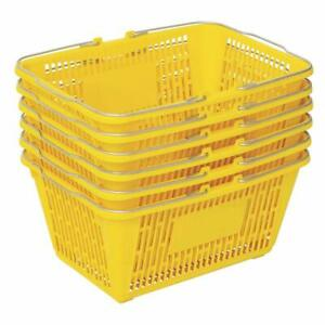 Shopping Basket set Of 6 Durable Yellow Plastic With Metal Handles